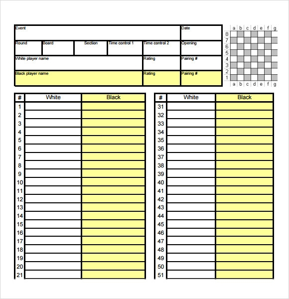 Elegant Chess Score Sheet Format Good Looking