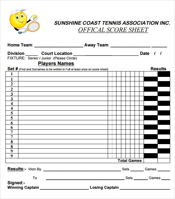 Sample Tennis Score Sheet Template Tennis Score Sheet Example