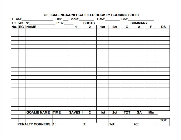 Sample Hockey Score Sheet   Free Documents Download In Pdf