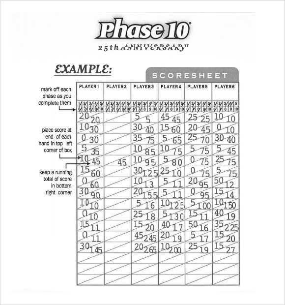 Phase Score Sheet Template How To Play The Card Game With Printable