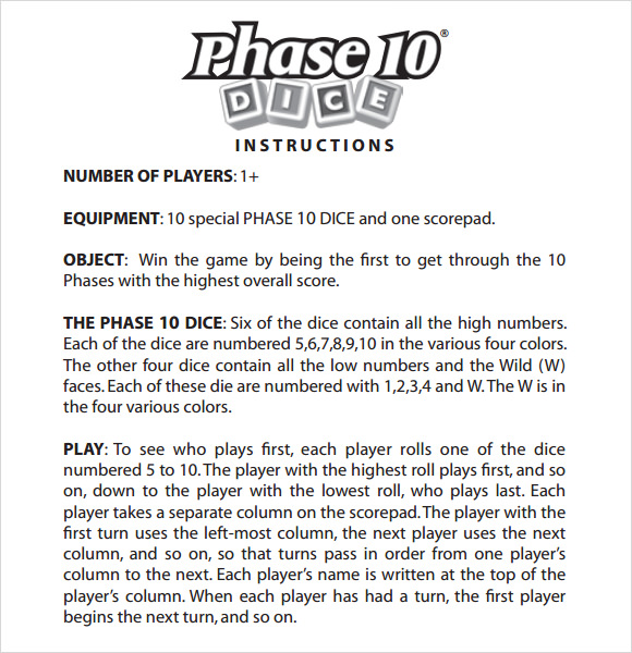 phase 10 dice rules printable