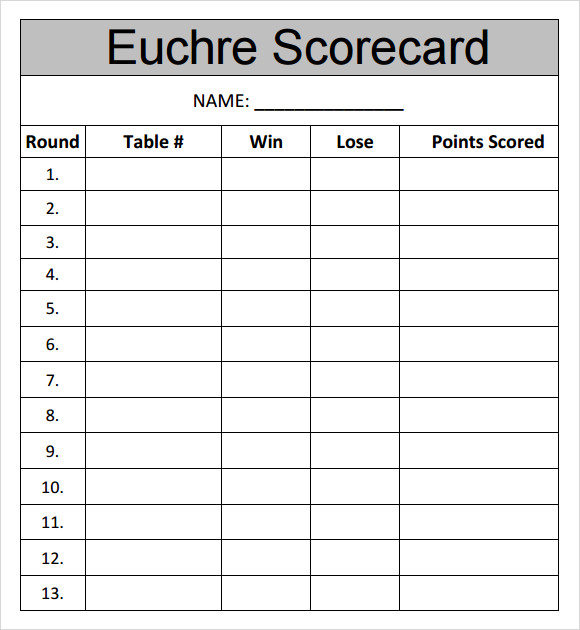 Sample Euchre Score Card Template   Free Documents Downlopad In