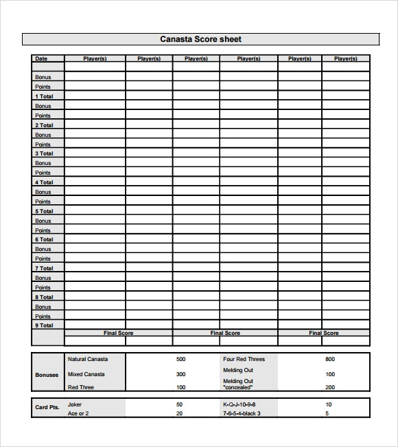 Sample Canasta Score Sheet - 7+ Documents In Pdf