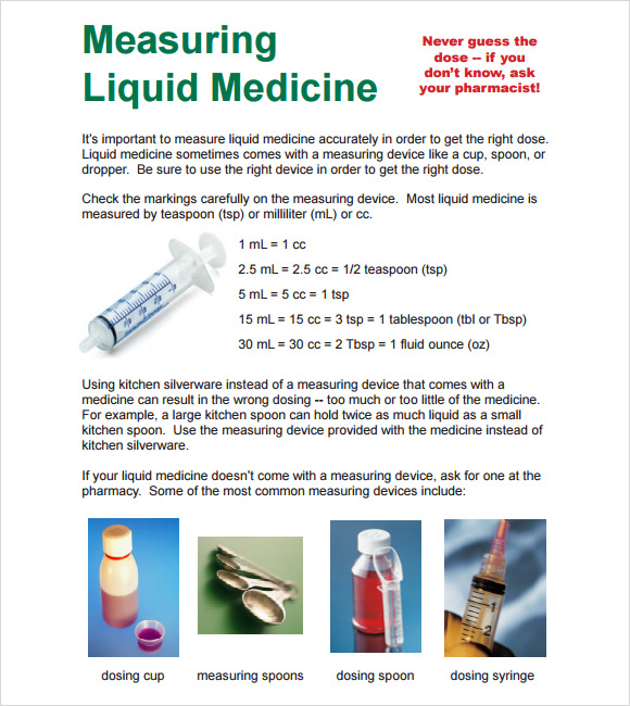 liquid measurements chart for medicine