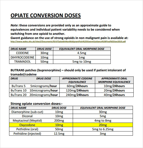 Sample Opioid Conversion Chart   Free Documents In Pdf