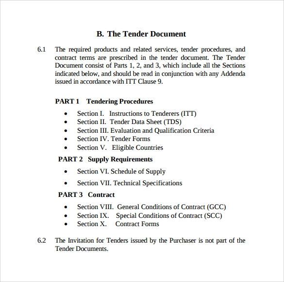 Tender procedures and documentation pdf for Tender specification template