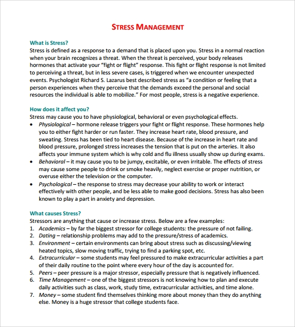 Stress Management Action Plan Template Stress Diy Home Plans