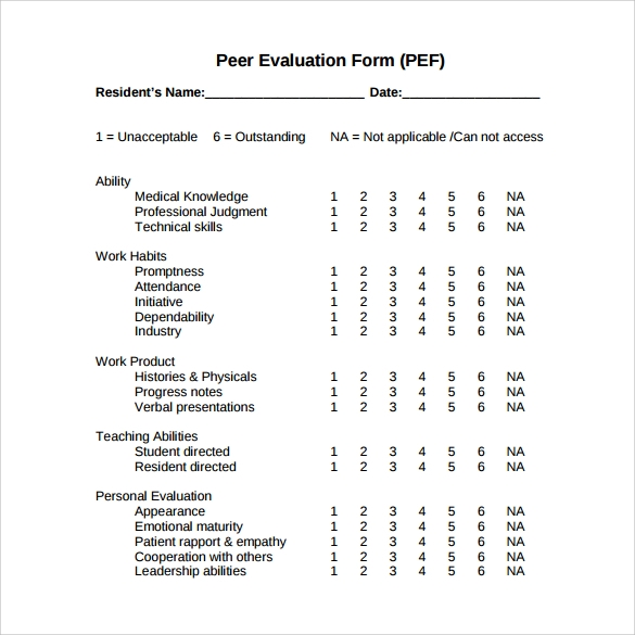 Peer Evaluation Form   Free Samples Examples Format