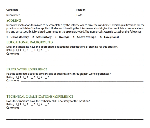 Interview Evaluation Form   Free Examples  Format