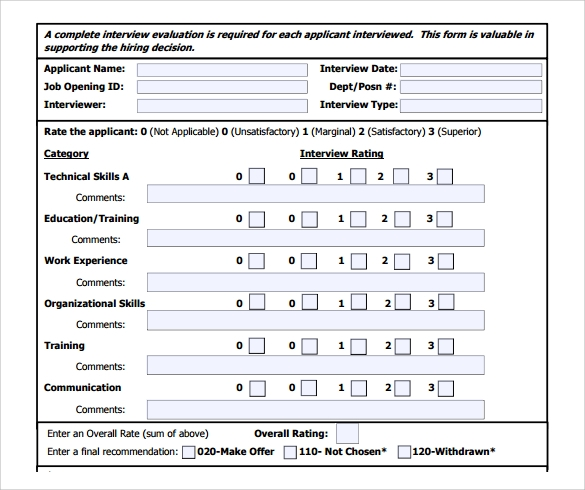 Interview Evaluation Form 9 Free Examples Format – Interview Evaluation Forms