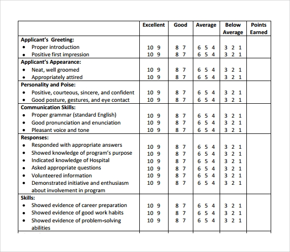 Interview Rating Sheet Template  Resume Ideas  NamanasaCom