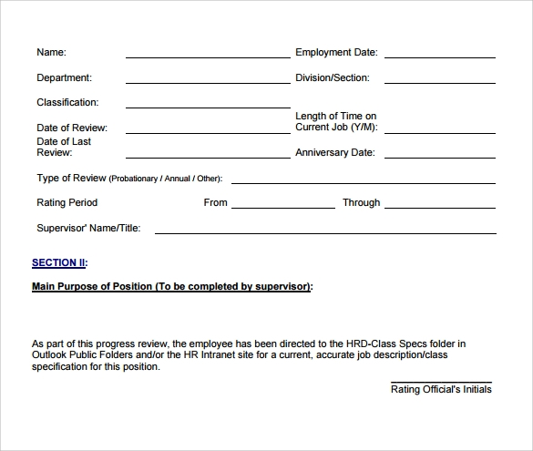 Print Employee Evaluation Form