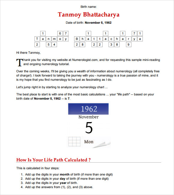 Sample Numerology Chart - 7+ Free Documents In Pdf