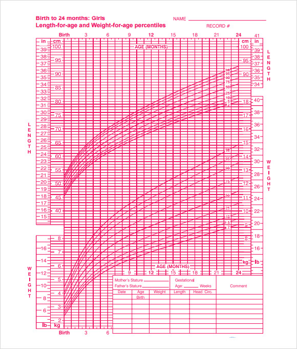 birth to 24 months girls growth chart template