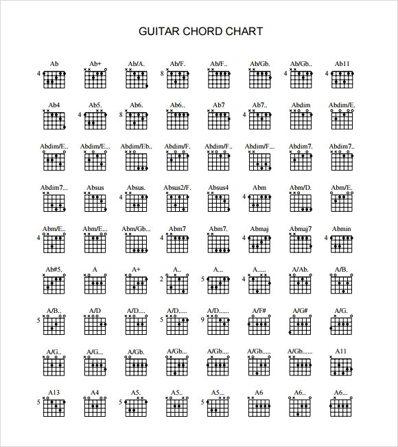 graphic about Printable Guitar Chords Chart named Pattern Guitar Chord Chart - 6+ Files within just PDF