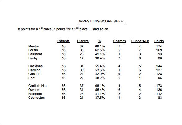 wrestling score sheet
