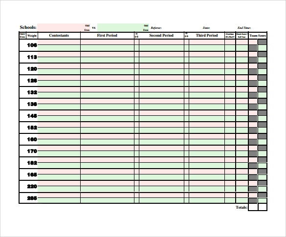 Sample Wrestling Score Sheet   Free Documents Download In Pdf