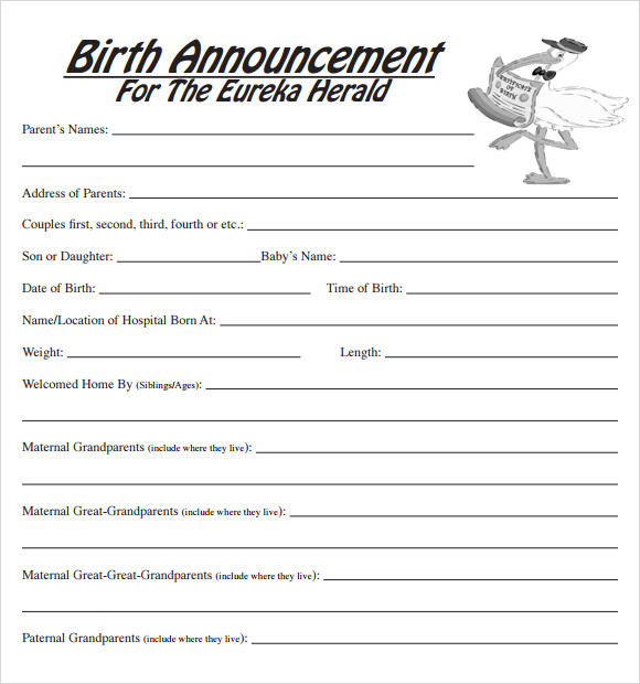 free 7  sample birth announcement templates in pdf