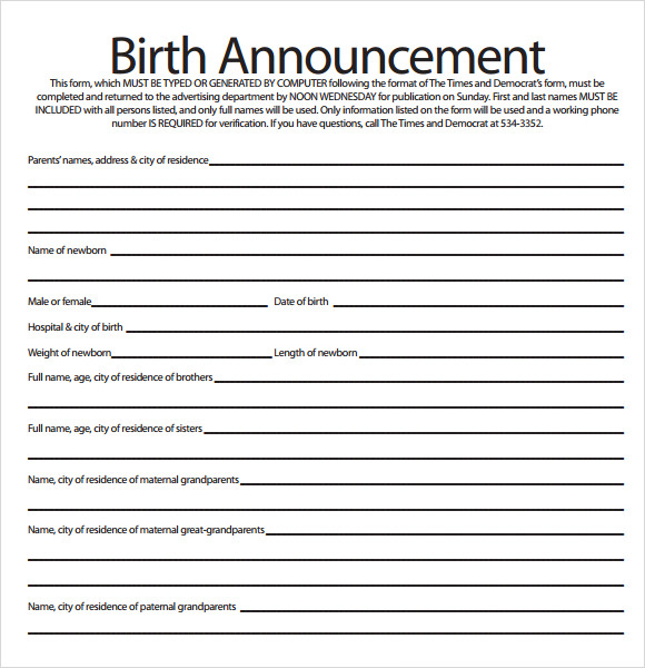 Sample Birth Announcement   Documents In Pdf
