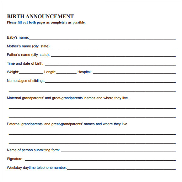 sample birth announcement