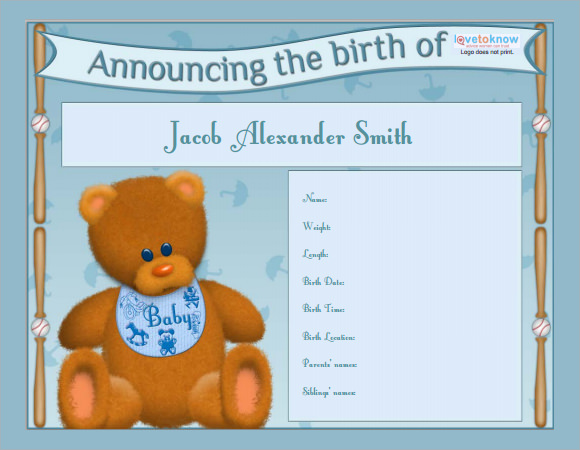 Birth Announcement Template Birth Announcement P11 Birth – Baby Boy Birth Announcements Templates