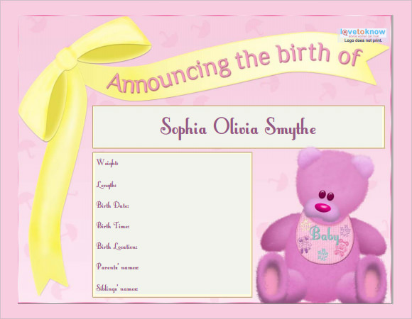 Sample birth announcement template 7 free documents in for Free online birth announcements templates