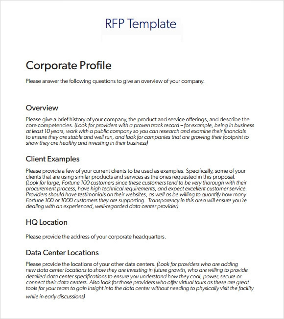 rfp template construction