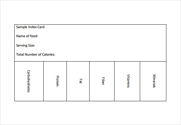 sample index card template