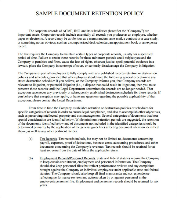 Sample Document Retention Policy   Documents In Word Pdf