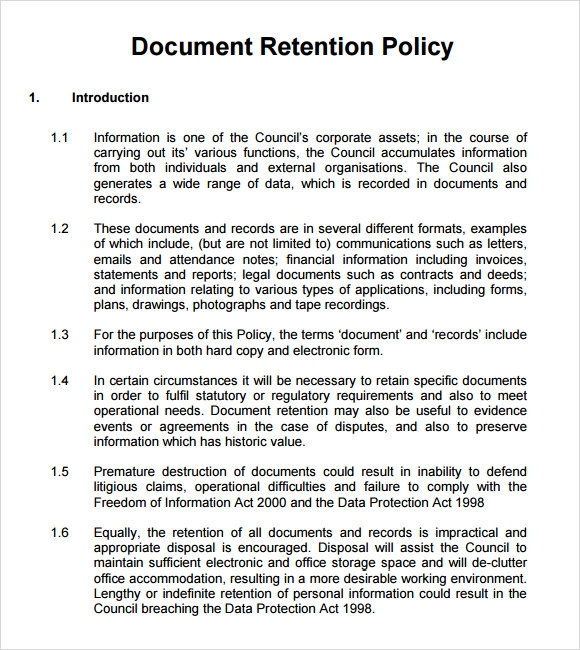 13 document retention policy samples sample templates personal document retention policy maxwellsz
