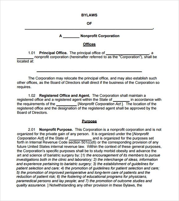corporate bylaw template - 7 bylaws templates sample templates