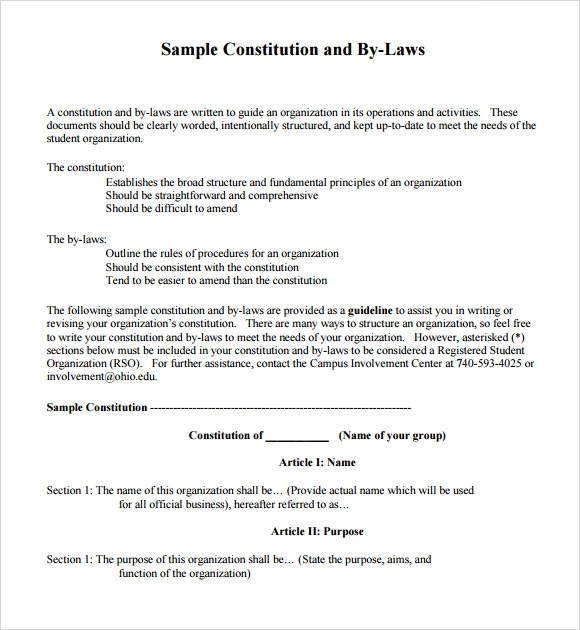 How To Write Constitution And Bylaws