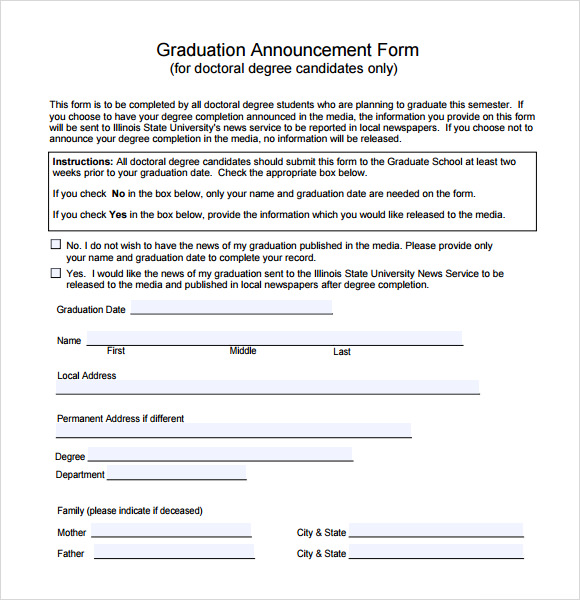 sample graduation announcement template 8 free documents in pdf word