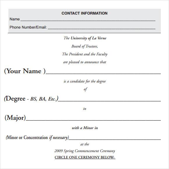 graduation announcement template download