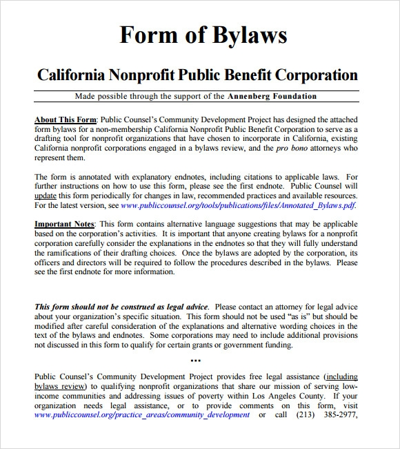 Bylaws Templates Sample Templates - Non profit association bylaws template