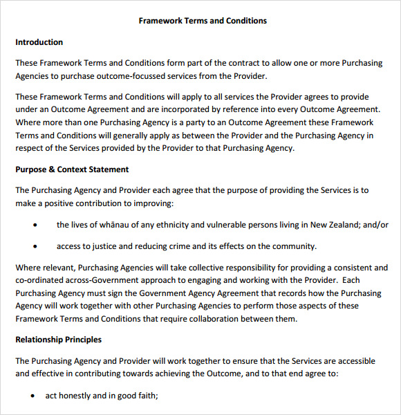 framework terms and conditions