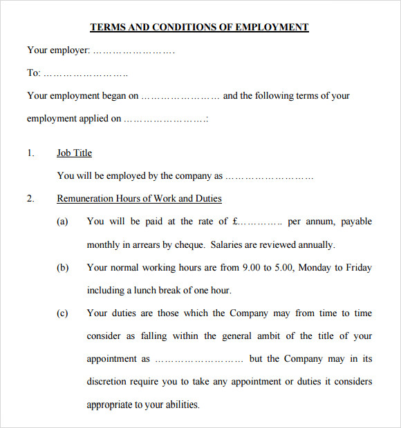 statement of terms and conditions of employment template 9 terms and conditions samples sample templates