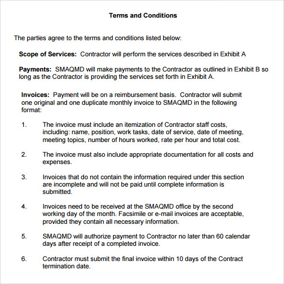 free terms and conditions template for services - term and condition template