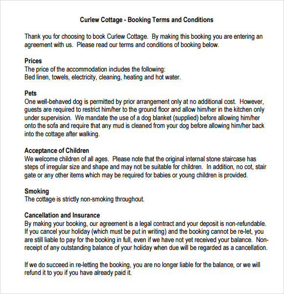 booking terms and conditions template - 9 terms and conditions samples sample templates