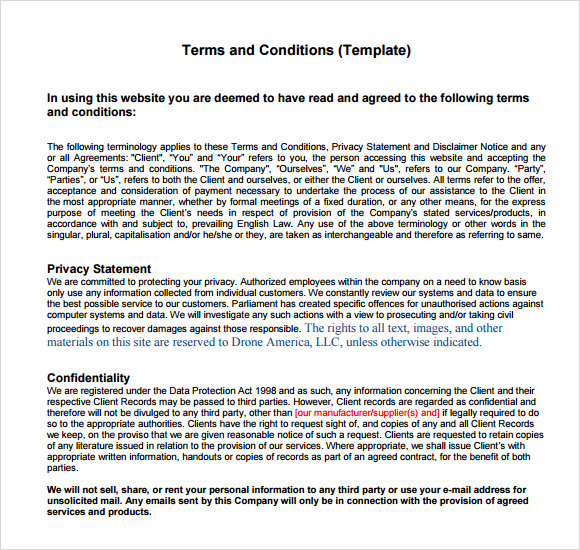 terms and conditions template usa - term and condition template