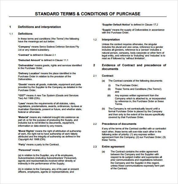 po terms and conditions template - 9 terms and conditions samples sample templates