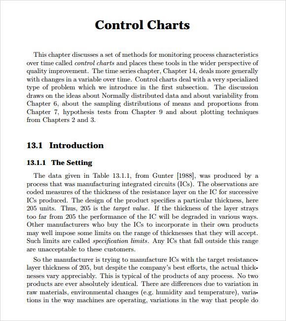sample control chart