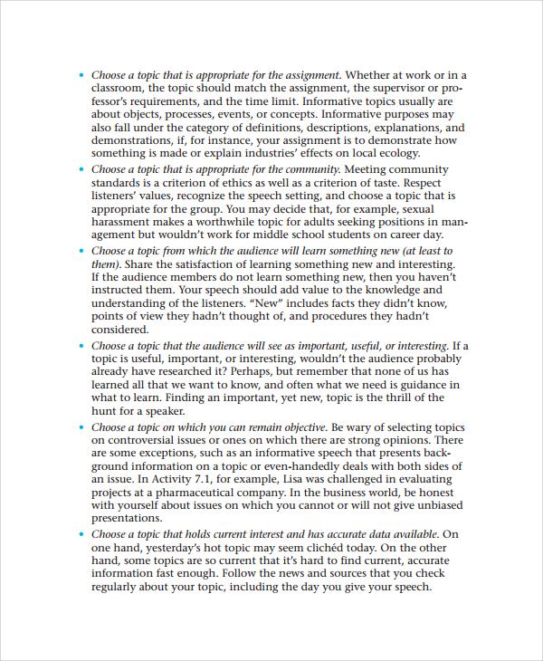 Informative speech essay examples