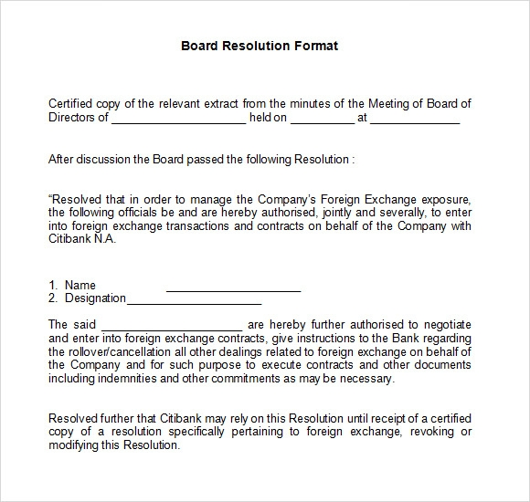 resolution of trustees template - 6 board resolution samples pdf doc sample templates
