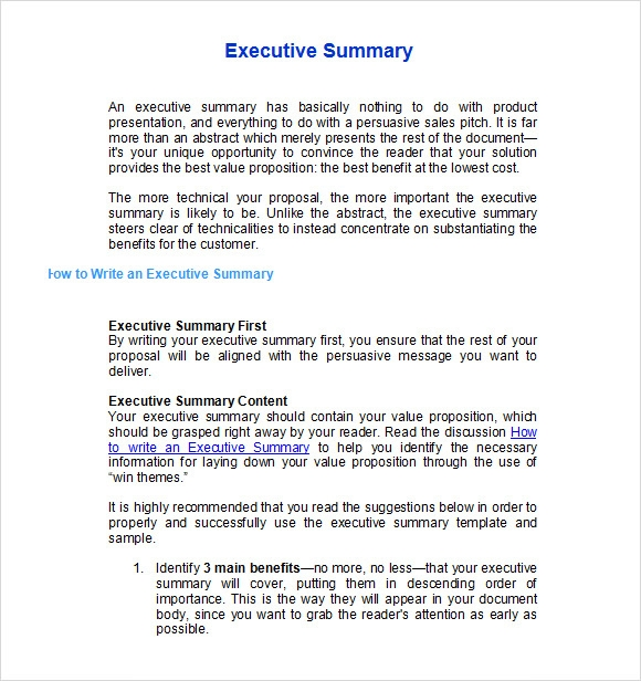 Format Of Executive Summary  Free Executive Summary Template
