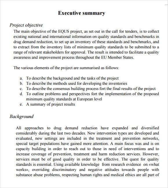 project executive summary template – Sample Project Summary Template