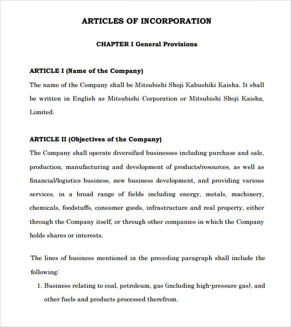 Sample Articles Of Incorporation   Documents In Pdf