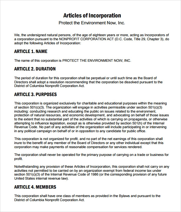 articles of incorporation template 9 sample articles of incorporations sample templates 20506 | articles of incorporation template free