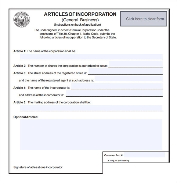 Articles Of Incorporation Template  OutOfDarkness