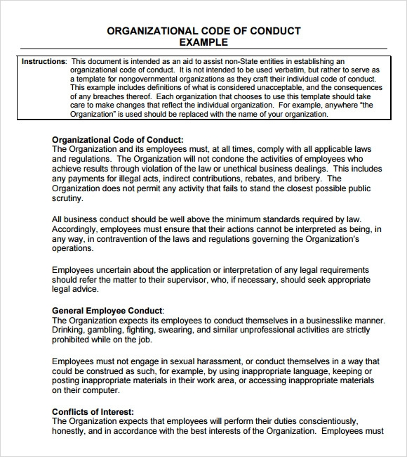 organizational code of conduct